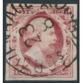 NETHERLANDS - 1852 10c dark red King Willem III, imperforate, plate III, used – NVPH # 2e