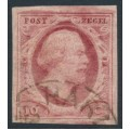 NETHERLANDS - 1852 10c red King Willem III, imperforate, plate V, used – NVPH # 2j