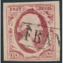 NETHERLANDS - 1852 10c carmine King Willem III, imperforate, plate VII, used – NVPH # 2m