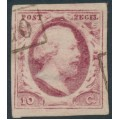 NETHERLANDS - 1852 10c carmine King Willem III, imperforate, plate VII, used – NVPH # 2m