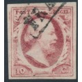 NETHERLANDS - 1852 10c carmine King Willem III, imperforate, plate VII, used – NVPH # 2n