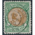 NETHERLANDS - 1896 50c green/brown Princess Wilhelmina, perf. 11½:11, used – NVPH # 45B