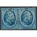 NETHERLANDS - 1864 5c blue King Willem III (Haarlem printing), pair, used – NVPH # 4BII