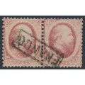 NETHERLANDS - 1864 10c pale red King Willem III (Haarlem printing), pair, used – NVPH # 5B
