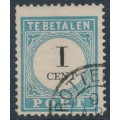 NETHERLANDS - 1888 1c light blue/black Postage Due, perf. 12½:12½, type I, used – NVPH # P3D