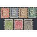NETHERLANDS - 1913 1c to 10c ARMENWET overprints in black set of 7, MH – NVPH # D1-D7