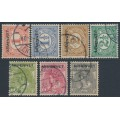 NETHERLANDS - 1913 1c to 10c ARMENWET overprints in black set of 7, used – NVPH # D1-D7