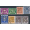 NETHERLANDS - 1934 1½c to 30c Cour Permanente de Justice overprints set of 8, used – NVPH # D9-D15A+D15B