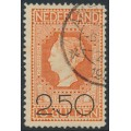 NETHERLANDS - 1920 2.50G on 10G red-orange Queen Wilhelmina, used – NVPH # 105