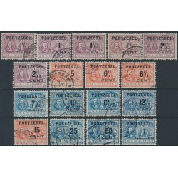NETHERLANDS - 1907 ½c to 1G PORTZEGEL overprints + type II with ½ closer, used – NVPH # P31-P43+P33a-P39a