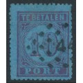 NETHERLANDS - 1870 10c carmine on deep blue Postage Due, perf. 13¾, used – NVPH # P2A