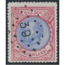 NETHERLANDS - 1872 2.50G red/ultramarine King Willem III, used – NVPH # 29