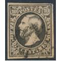 LUXEMBOURG - 1852 10c black Prince Wilhelm III, imperforate, used – Michel # 1c