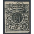 LUXEMBOURG - 1860 2c black Coat of Arms, imperforate, used – Michel # 4