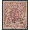 LUXEMBOURG - 1859 30c red-purple Coat of Arms, imperforate, used – Michel # 9