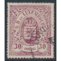 LUXEMBOURG - 1871 30c purple-red Coat of Arms, coloured roulette, used – Michel # 21