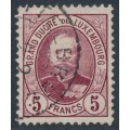 LUXEMBOURG - 1893 5Fr deep purple-red Grand Duke Adolf, used – Michel # 66