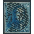 BELGIUM - 1849 20c blue King Leopold I, boxed watermark, used – Michel # 2a