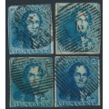 BELGIUM - 1849 20c King Leopold I, range of shades, boxed watermark, used – Michel # 2