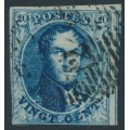 BELGIUM - 1850 20c blue King Leopold I in medallion, boxed watermark, used – Michel # 4A