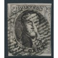 BELGIUM - 1851 10c brown King Leopold I in medallion, marginal watermark, used – Michel # 3Bx