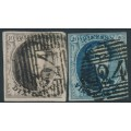 BELGIUM - 1851 10c brown & 20c blue Leopold I in medallion, unframed watermark, used – Michel # 3By + 4By