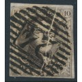 BELGIUM - 1851 10c brown King Leopold I in medallion, pre-print paper fold, used – Michel # 3By