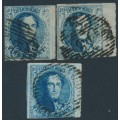 BELGIUM - 1851 20c blue King Leopold I in medallion x 3 with sheet margin, used – Michel # 4By