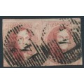 BELGIUM - 1851 40c red King Leopold I in medallion, unframed watermark, pair, used – Michel # 5By