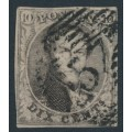 BELGIUM - 1854 10c brown King Leopold I in medallion, horizontally laid paper, used – Michel # 3Bz