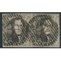 BELGIUM - 1854 10c brown King Leopold I in medallion, horizontally laid paper, pair, used – Michel # 3Bz
