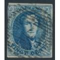 BELGIUM - 1854 20c blue King Leopold I in medallion, horizontally laid paper, used – Michel # 4Bz