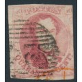 BELGIUM - 1854 40c red King Leopold I in medallion, horizontally laid paper, used – Michel # 5Bz
