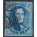 """BELGIUM - 1858 20c blue King Leopold I, """"petit médallion"""", used – Michel # 8I"""
