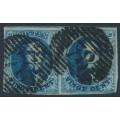"BELGIUM - 1858 20c blue King Leopold I, ""petit médallion"", pair, used – Michel # 8I"