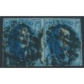 "BELGIUM - 1861 20c blue King Leopold I, ""grand médallion"", pair, used – Michel # 8II"