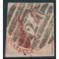"""BELGIUM - 1858 40c carmine-rose King Leopold I, """"petit médallion"""", used – Michel # 9I"""
