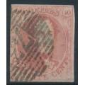 "BELGIUM - 1861 40c carmine-rose King Leopold I, ""grand médallion"", used – Michel # 9II"