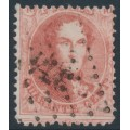 BELGIUM - 1863 40c red King Leopold I in medallion, perf. 12½:13½, used – Michel # 13B