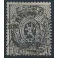 BELGIUM - 1867 1c grey-black Coat of Arms, perf. 15:15, used – Michel # 20Cb