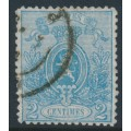 BELGIUM - 1867 2c blue Coat of Arms, perf. 14½:14, used – Michel # 21Aa