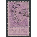 BELGIUM - 1893 2Fr lilac on pale rose King Leopold II with tab, used – Michel # 59