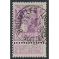 BELGIUM - 1905 2Fr violet Anniversary of Independence with tab, used – Michel # 77