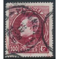 BELGIUM - 1929 100Fr carmine King Albert I (Paris printing), perf. 14½:14½, used – Michel # 265I