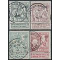 BELGIUM - 1911 TB Fund (lined background) set of 4, used – Michel # 81II-84II