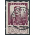 BELGIUM - 1912 5Fr purple-brown King Albert I with tab, used – Michel # 99