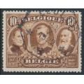 BELGIUM - 1915 10Fr brown Three Kings, perf. 14:14, used – Michel # 128A