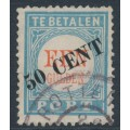 NETHERLANDS - 1906 50c on 1Gld light blue/red Postage Due, type III, used – NVPH # P28III
