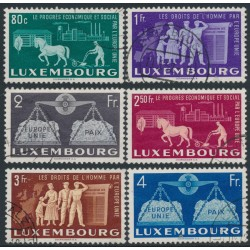 LUXEMBOURG - 1951 80c to 4Fr European Unity set of 6, used – Michel # 478-483
