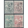 "BELGIUM - 1911 TB Fund (lined background) set of 4, o/p ""1911"", used – Michel # 81II-84II"